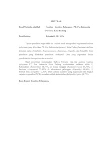 Analisis Kualitas Pelayanan Pt Pos Indonesia Persero Kota Padang Universitas Negeri Padang Repository